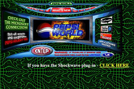 Website Pepsi în anii 90